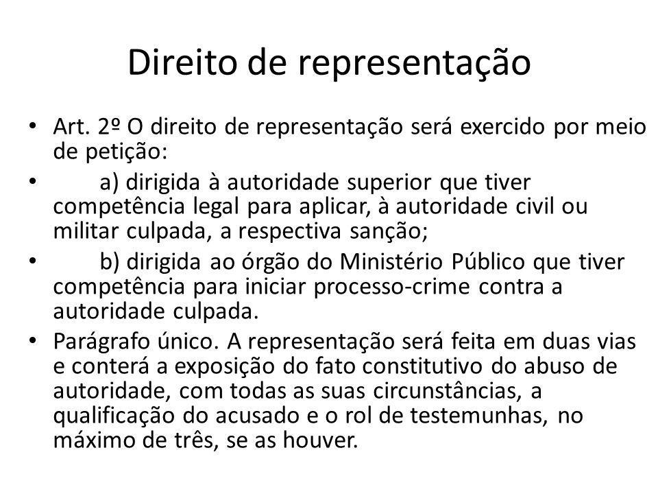 Direito de representação Art. 2º O direito de representação será exercido por meio de petição: a) dirigida à autoridade superior que tiver competência