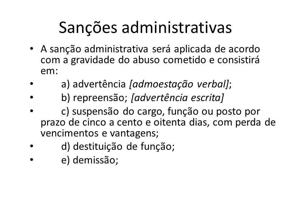 Sanções administrativas A sanção administrativa será aplicada de acordo com a gravidade do abuso cometido e consistirá em: a) advertência [admoestação