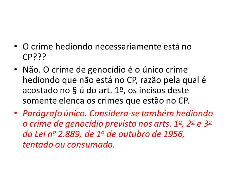 O crime hediondo necessariamente está no CP??.Não.