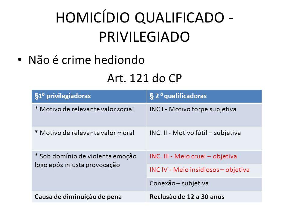 HOMICÍDIO QUALIFICADO - PRIVILEGIADO Não é crime hediondo Art.
