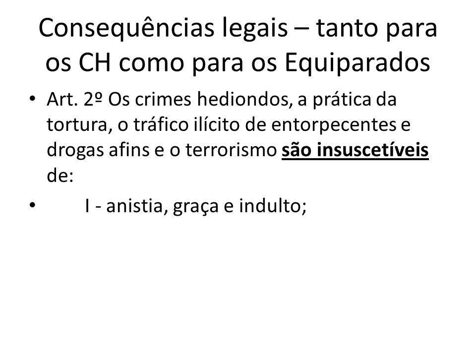 Consequências legais – tanto para os CH como para os Equiparados Art.