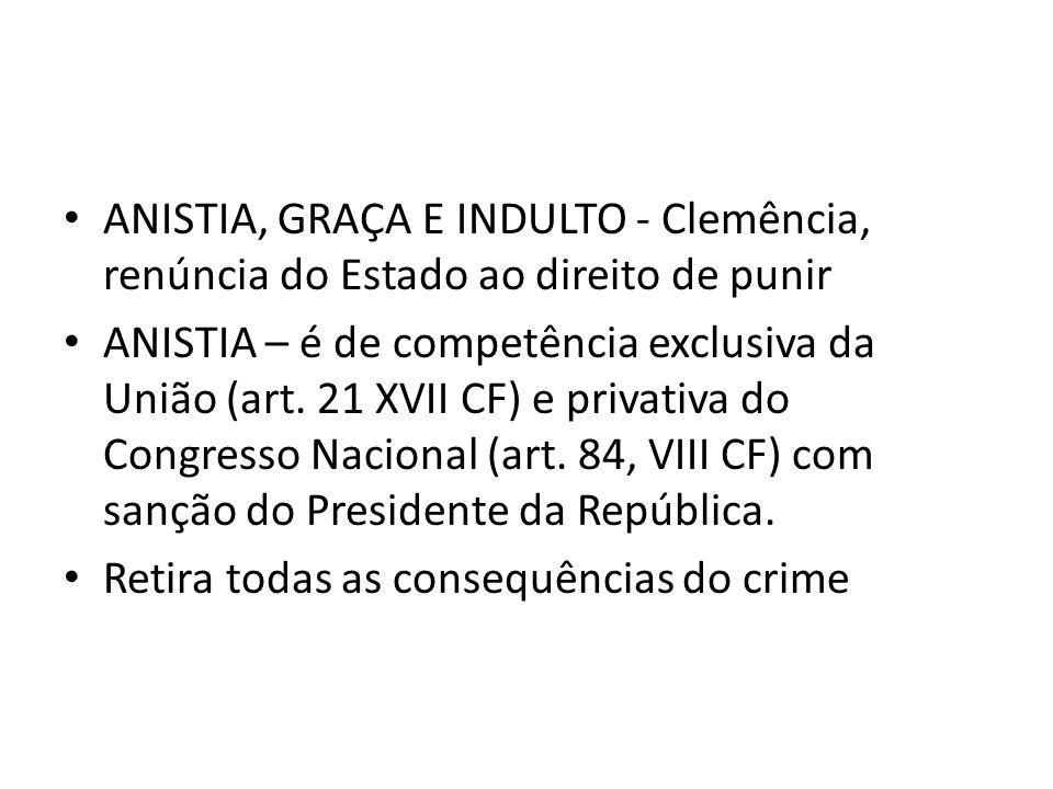 ANISTIA, GRAÇA E INDULTO - Clemência, renúncia do Estado ao direito de punir ANISTIA – é de competência exclusiva da União (art.