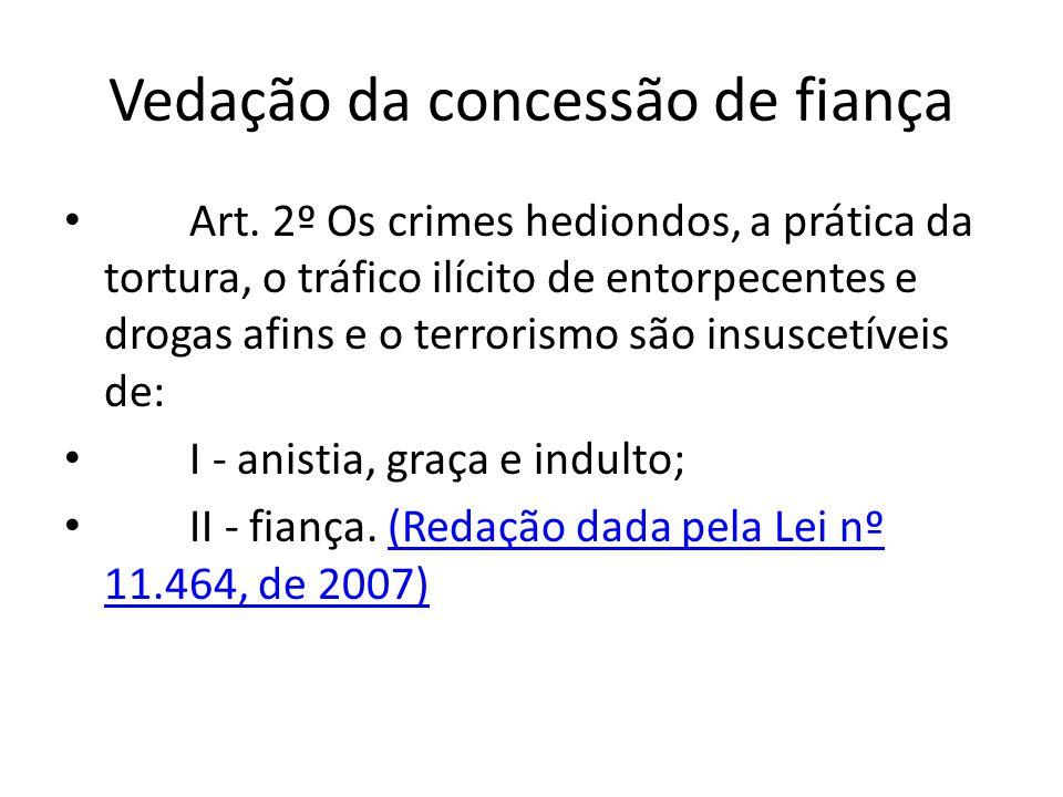 Vedação da concessão de fiança Art.