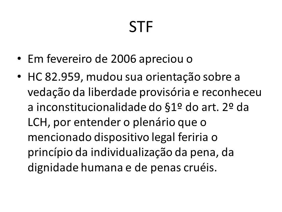 STF Em fevereiro de 2006 apreciou o HC 82.959, mudou sua orientação sobre a vedação da liberdade provisória e reconheceu a inconstitucionalidade do §1º do art.