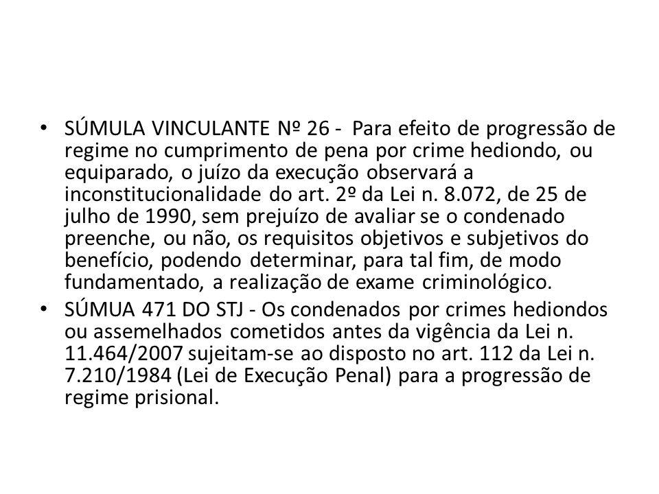 SÚMULA VINCULANTE Nº 26 - Para efeito de progressão de regime no cumprimento de pena por crime hediondo, ou equiparado, o juízo da execução observará a inconstitucionalidade do art.