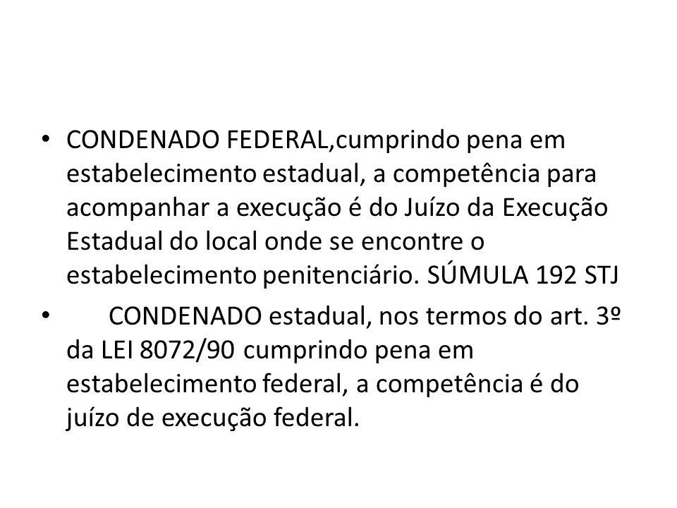 CONDENADO FEDERAL,cumprindo pena em estabelecimento estadual, a competência para acompanhar a execução é do Juízo da Execução Estadual do local onde se encontre o estabelecimento penitenciário.