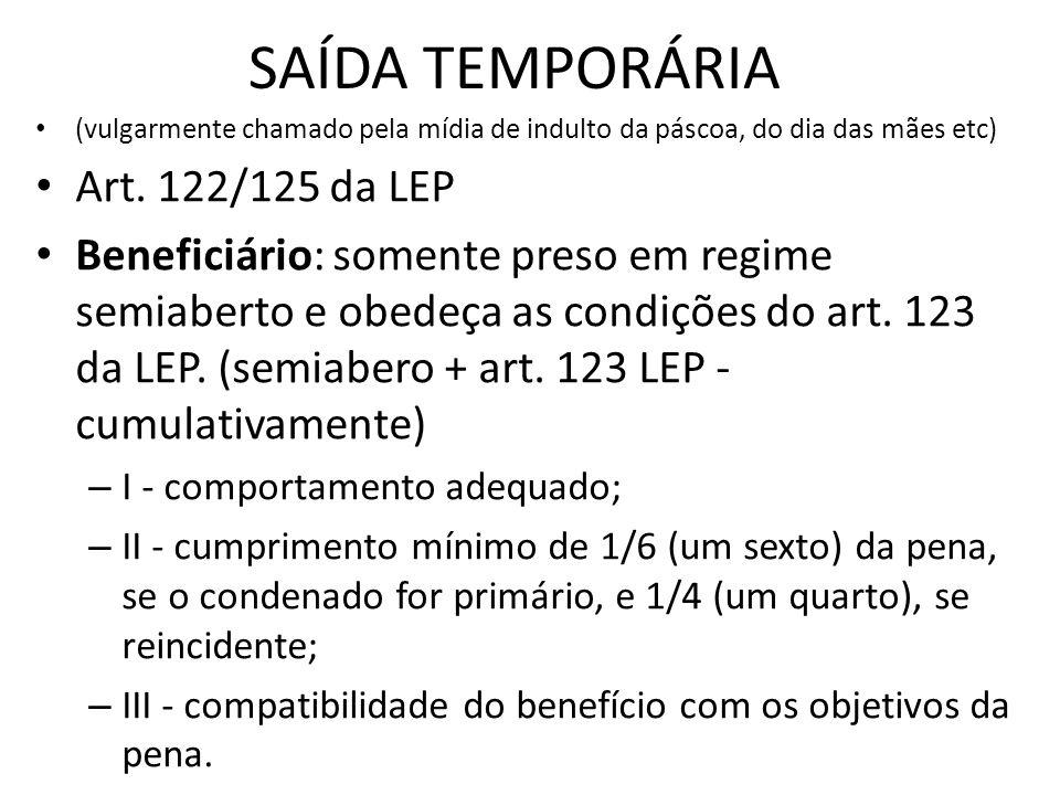 SAÍDA TEMPORÁRIA (vulgarmente chamado pela mídia de indulto da páscoa, do dia das mães etc) Art. 122/125 da LEP Beneficiário: somente preso em regime