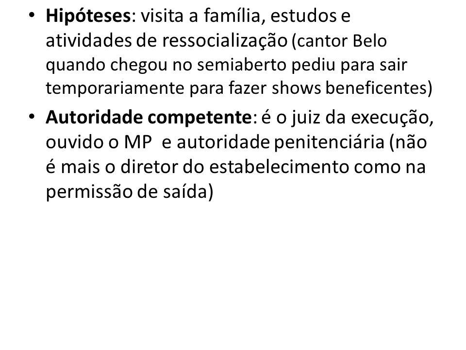 Hipóteses: visita a família, estudos e atividades de ressocialização (cantor Belo quando chegou no semiaberto pediu para sair temporariamente para faz