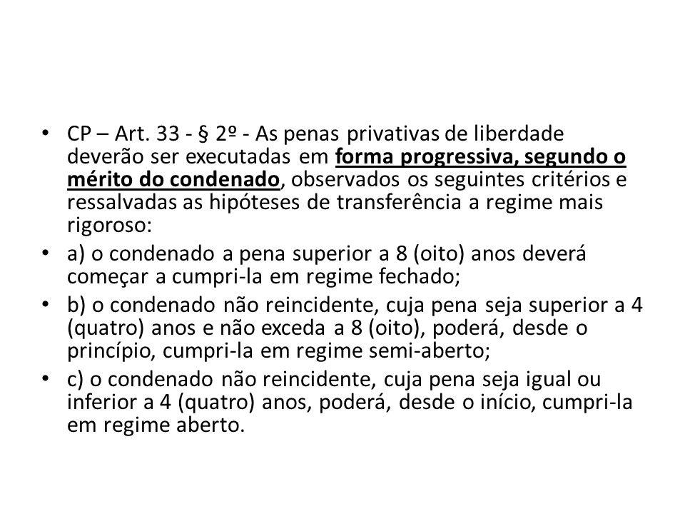 CP – Art. 33 - § 2º - As penas privativas de liberdade deverão ser executadas em forma progressiva, segundo o mérito do condenado, observados os segui