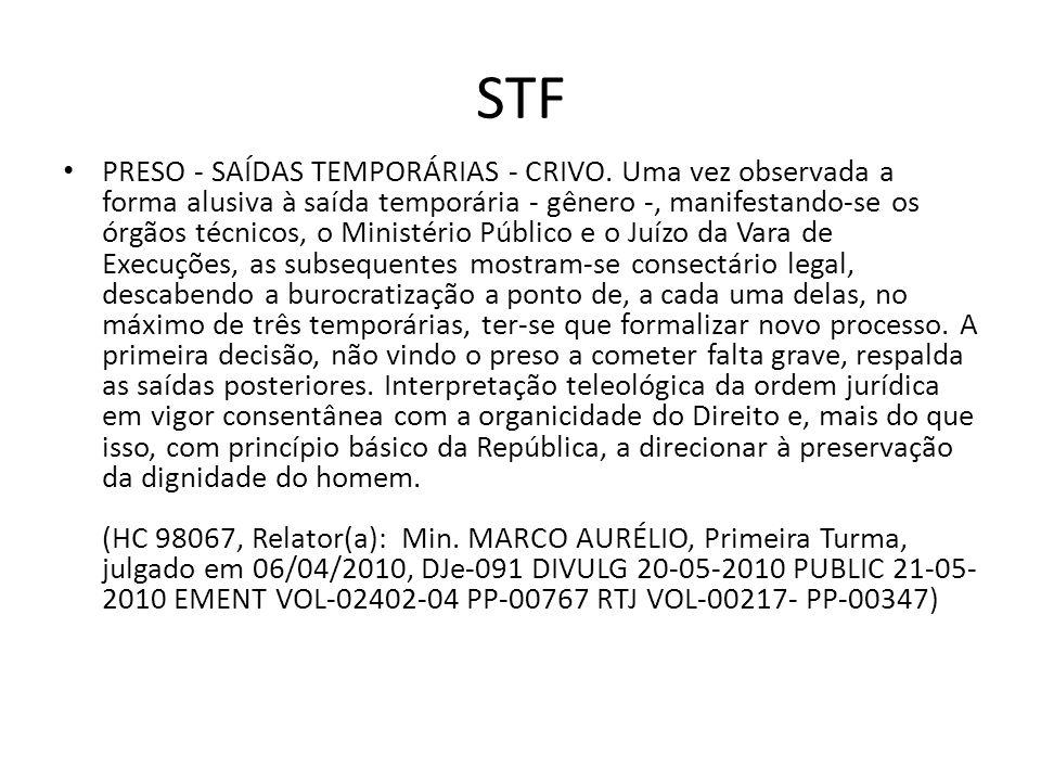 STF PRESO - SAÍDAS TEMPORÁRIAS - CRIVO. Uma vez observada a forma alusiva à saída temporária - gênero -, manifestando-se os órgãos técnicos, o Ministé