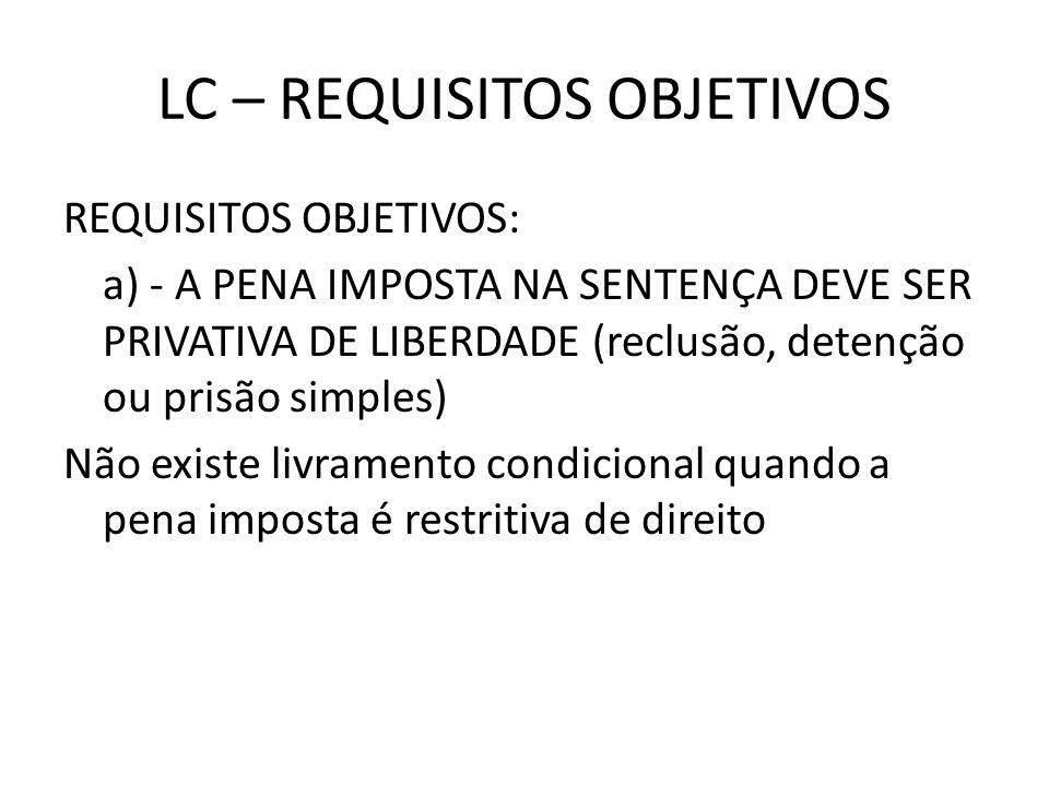 LC – REQUISITOS OBJETIVOS REQUISITOS OBJETIVOS: a) - A PENA IMPOSTA NA SENTENÇA DEVE SER PRIVATIVA DE LIBERDADE (reclusão, detenção ou prisão simples)