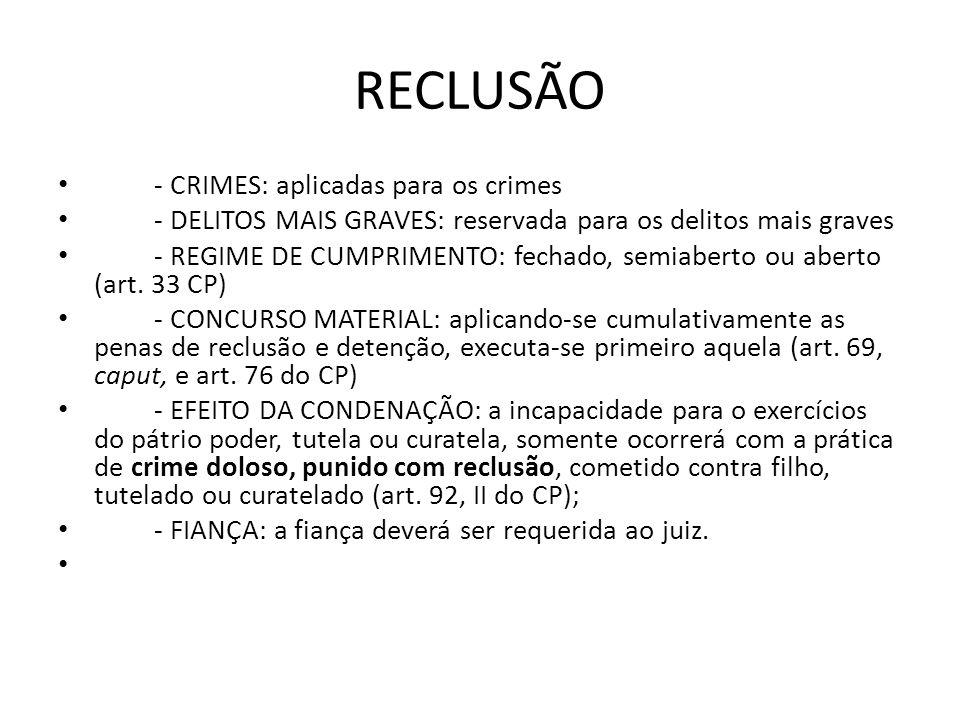 RECLUSÃO - CRIMES: aplicadas para os crimes - DELITOS MAIS GRAVES: reservada para os delitos mais graves - REGIME DE CUMPRIMENTO: fechado, semiaberto
