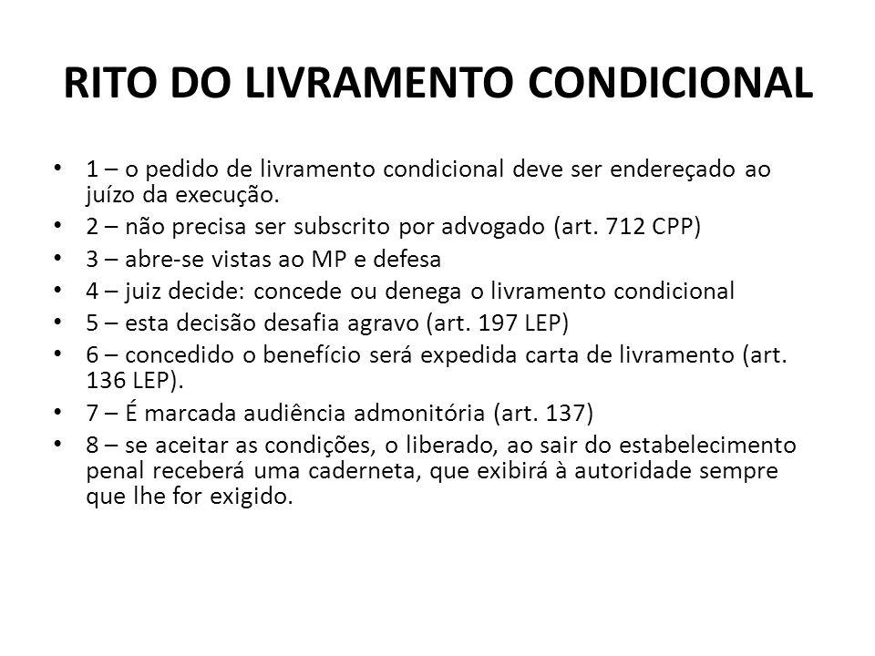 RITO DO LIVRAMENTO CONDICIONAL 1 – o pedido de livramento condicional deve ser endereçado ao juízo da execução. 2 – não precisa ser subscrito por advo