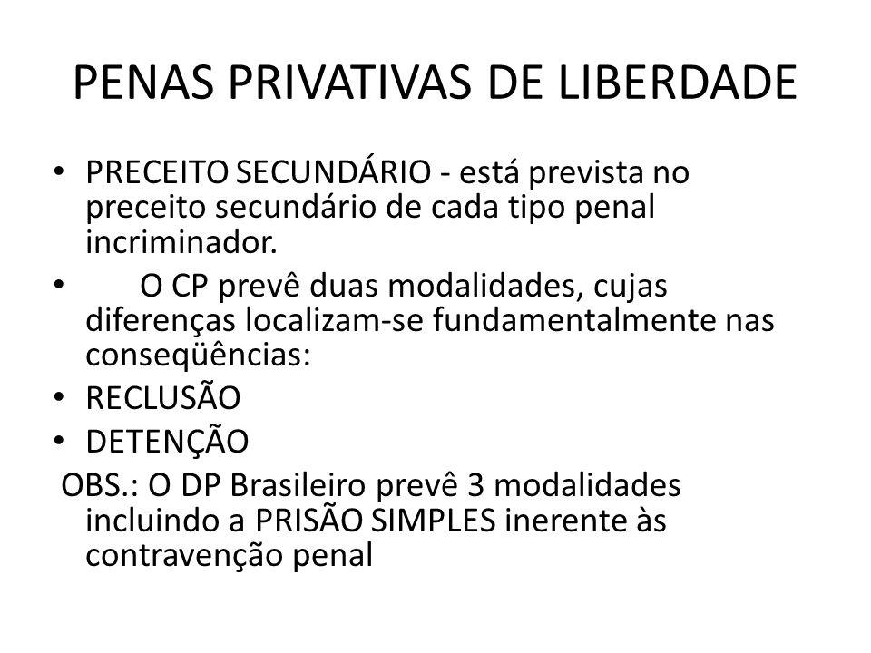 PENAS PRIVATIVAS DE LIBERDADE PRECEITO SECUNDÁRIO - está prevista no preceito secundário de cada tipo penal incriminador. O CP prevê duas modalidades,