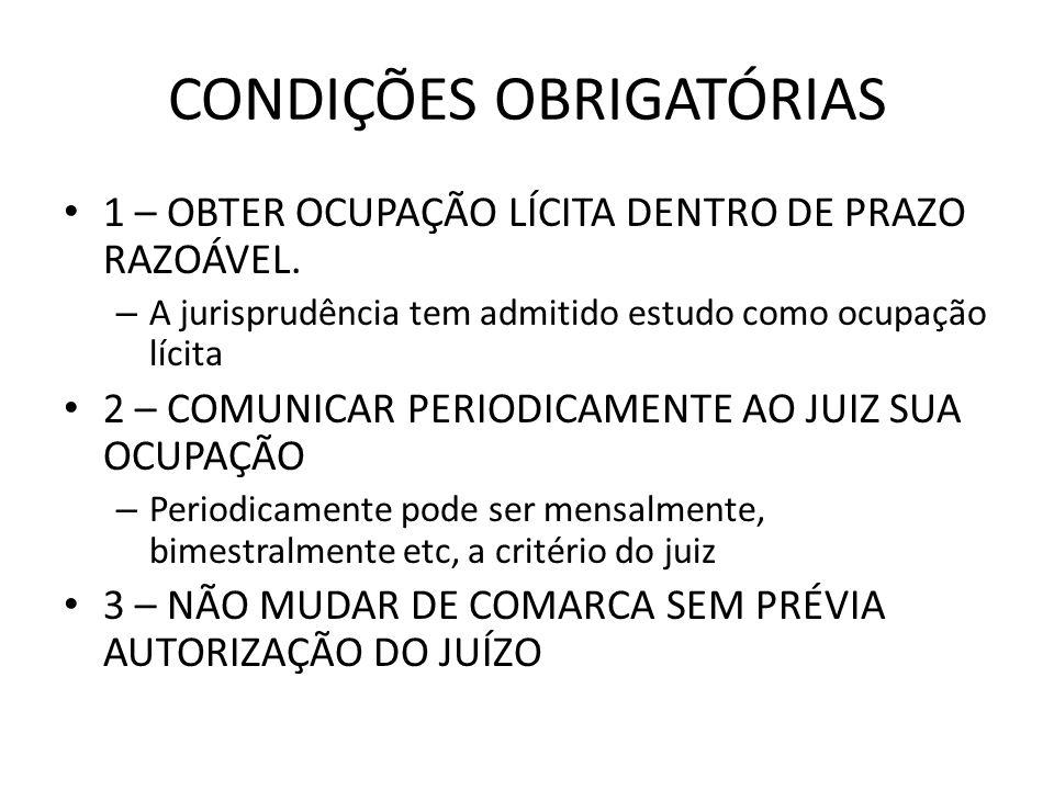 CONDIÇÕES OBRIGATÓRIAS 1 – OBTER OCUPAÇÃO LÍCITA DENTRO DE PRAZO RAZOÁVEL. – A jurisprudência tem admitido estudo como ocupação lícita 2 – COMUNICAR P