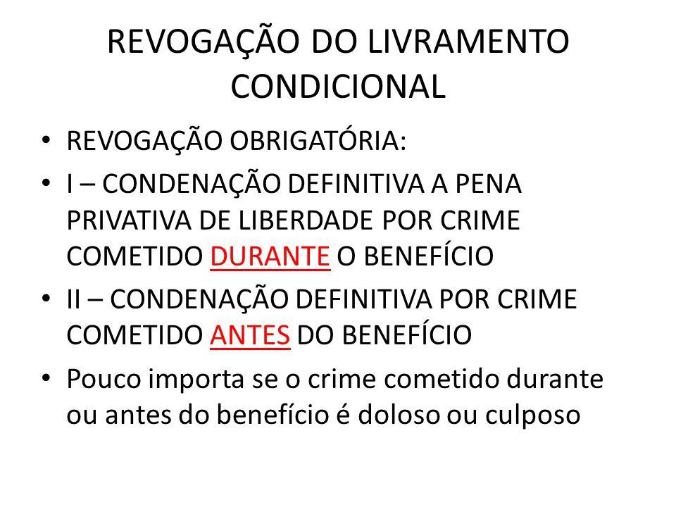 REVOGAÇÃO DO LIVRAMENTO CONDICIONAL REVOGAÇÃO OBRIGATÓRIA: I – CONDENAÇÃO DEFINITIVA A PENA PRIVATIVA DE LIBERDADE POR CRIME COMETIDO DURANTE O BENEFÍ