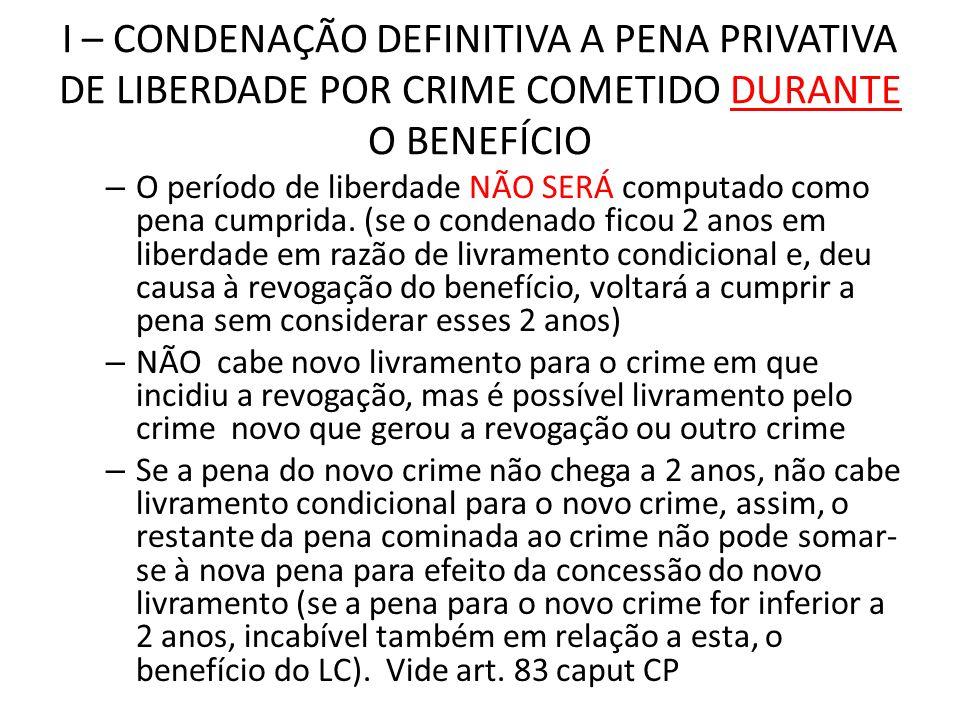 I – CONDENAÇÃO DEFINITIVA A PENA PRIVATIVA DE LIBERDADE POR CRIME COMETIDO DURANTE O BENEFÍCIO – O período de liberdade NÃO SERÁ computado como pena c