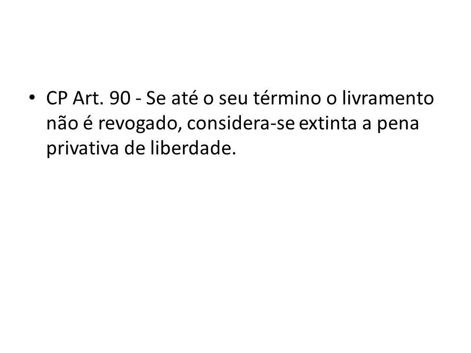 CP Art. 90 - Se até o seu término o livramento não é revogado, considera-se extinta a pena privativa de liberdade.