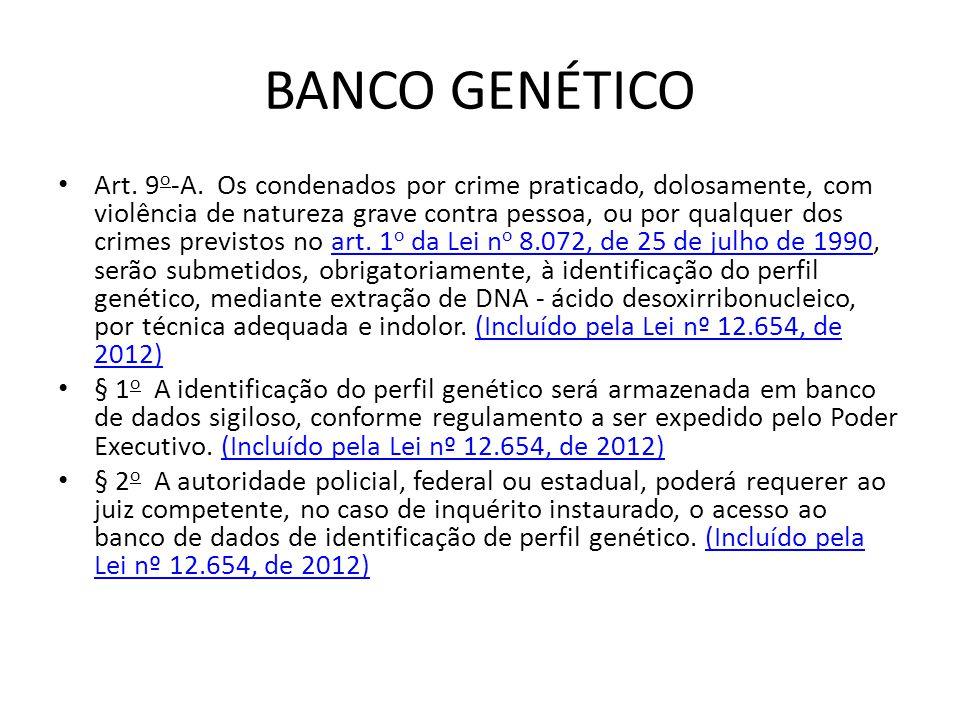 BANCO GENÉTICO Art. 9 o -A. Os condenados por crime praticado, dolosamente, com violência de natureza grave contra pessoa, ou por qualquer dos crimes