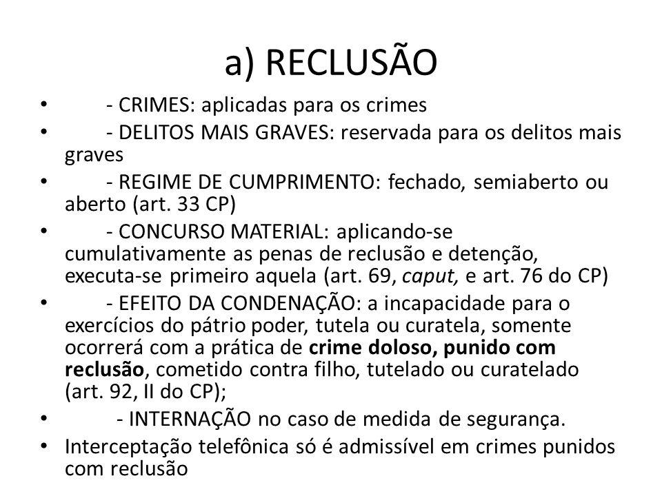 a) RECLUSÃO - CRIMES: aplicadas para os crimes - DELITOS MAIS GRAVES: reservada para os delitos mais graves - REGIME DE CUMPRIMENTO: fechado, semiaber