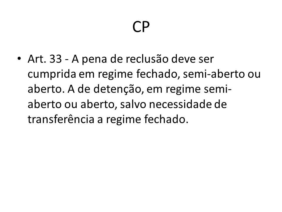 CP Art. 33 - A pena de reclusão deve ser cumprida em regime fechado, semi-aberto ou aberto. A de detenção, em regime semi- aberto ou aberto, salvo nec