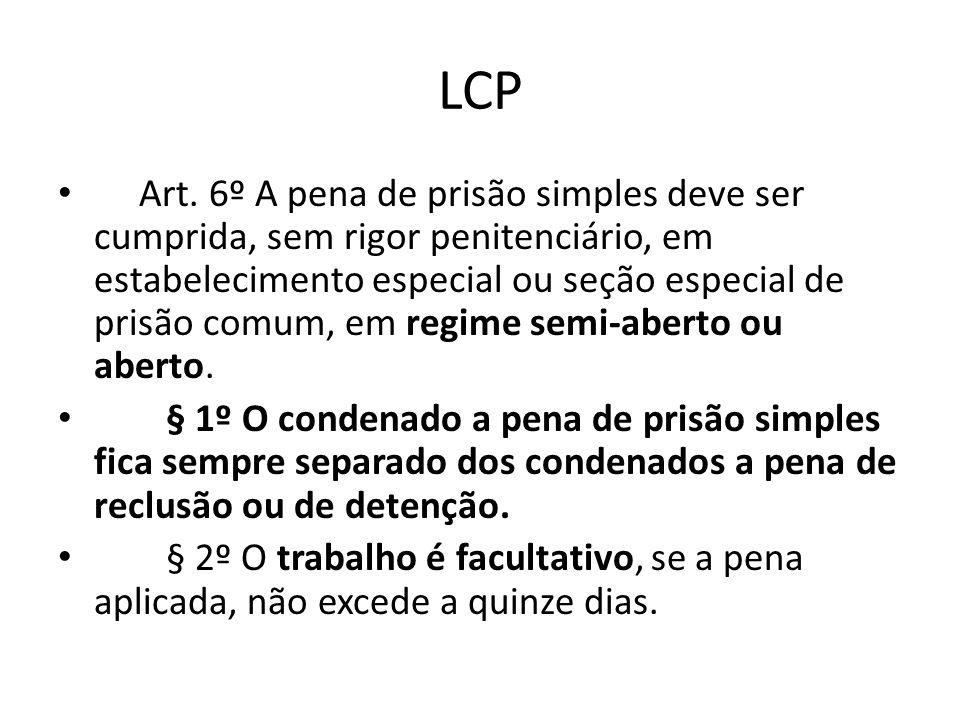 LCP Art. 6º A pena de prisão simples deve ser cumprida, sem rigor penitenciário, em estabelecimento especial ou seção especial de prisão comum, em reg