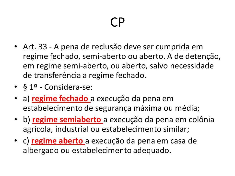 CP Art. 33 - A pena de reclusão deve ser cumprida em regime fechado, semi-aberto ou aberto. A de detenção, em regime semi-aberto, ou aberto, salvo nec