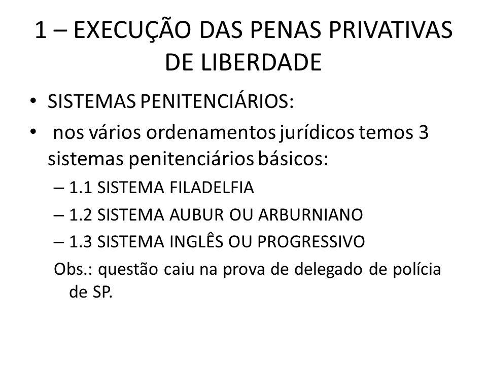 1 – EXECUÇÃO DAS PENAS PRIVATIVAS DE LIBERDADE SISTEMAS PENITENCIÁRIOS: nos vários ordenamentos jurídicos temos 3 sistemas penitenciários básicos: – 1
