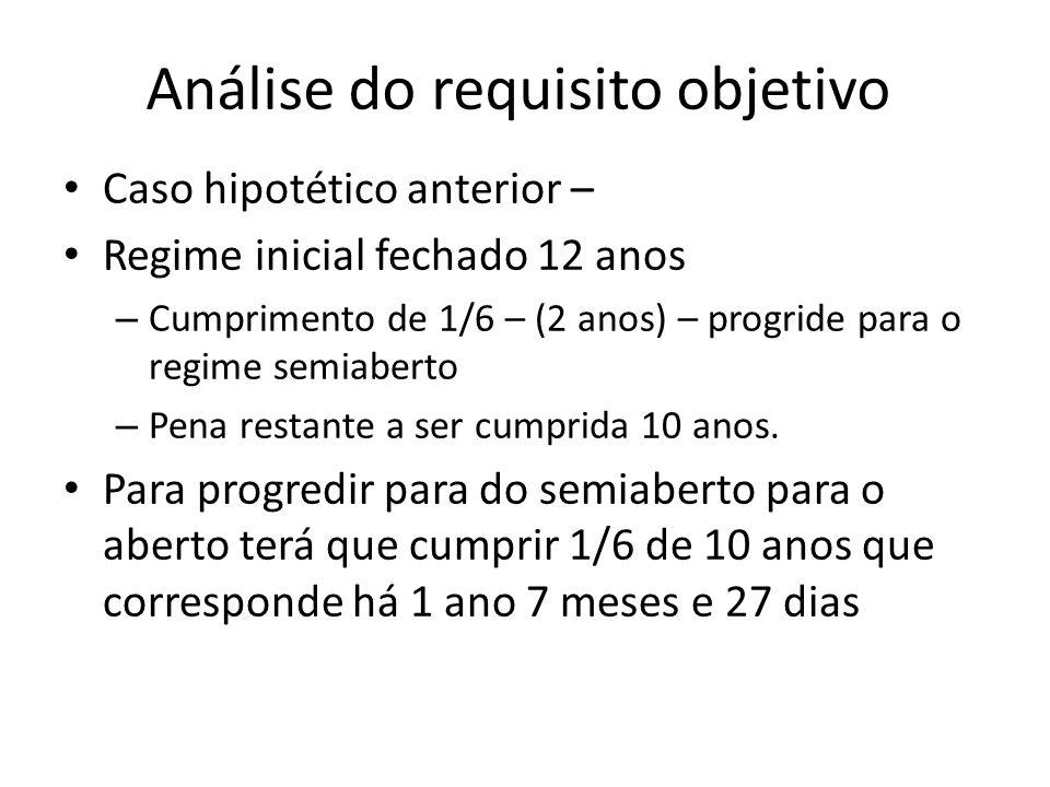 Análise do requisito objetivo Caso hipotético anterior – Regime inicial fechado 12 anos – Cumprimento de 1/6 – (2 anos) – progride para o regime semia