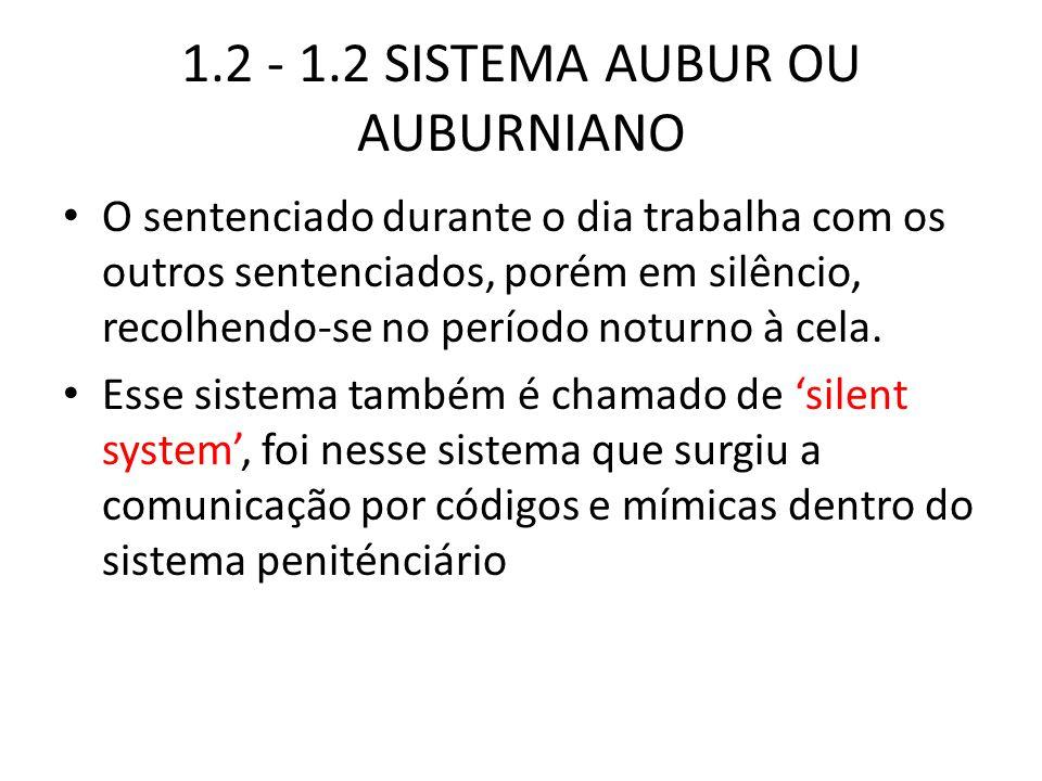 1.2 - 1.2 SISTEMA AUBUR OU AUBURNIANO O sentenciado durante o dia trabalha com os outros sentenciados, porém em silêncio, recolhendo-se no período not