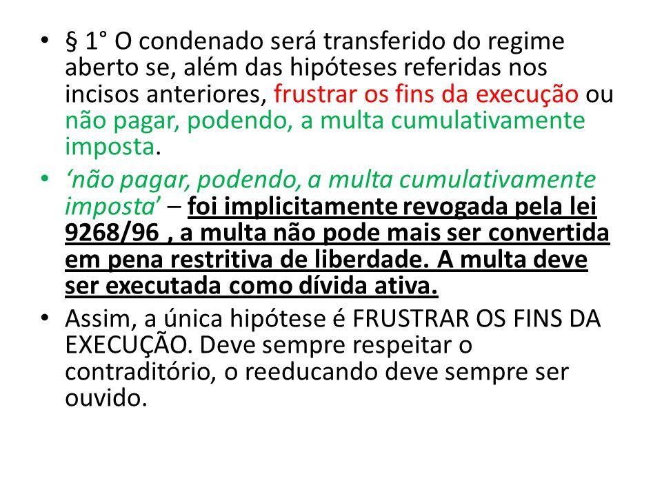 § 1° O condenado será transferido do regime aberto se, além das hipóteses referidas nos incisos anteriores, frustrar os fins da execução ou não pagar,