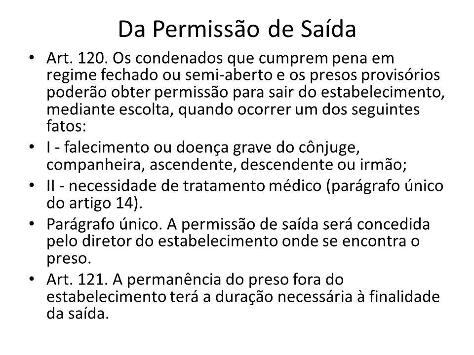Da Permissão de Saída Art. 120. Os condenados que cumprem pena em regime fechado ou semi-aberto e os presos provisórios poderão obter permissão para s