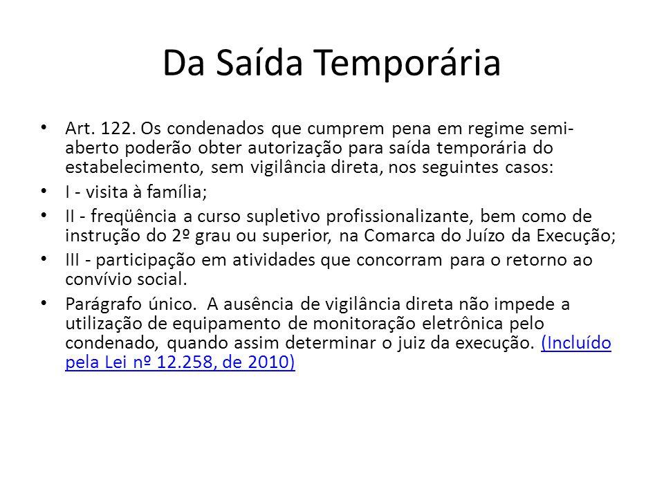 Da Saída Temporária Art. 122. Os condenados que cumprem pena em regime semi- aberto poderão obter autorização para saída temporária do estabelecimento