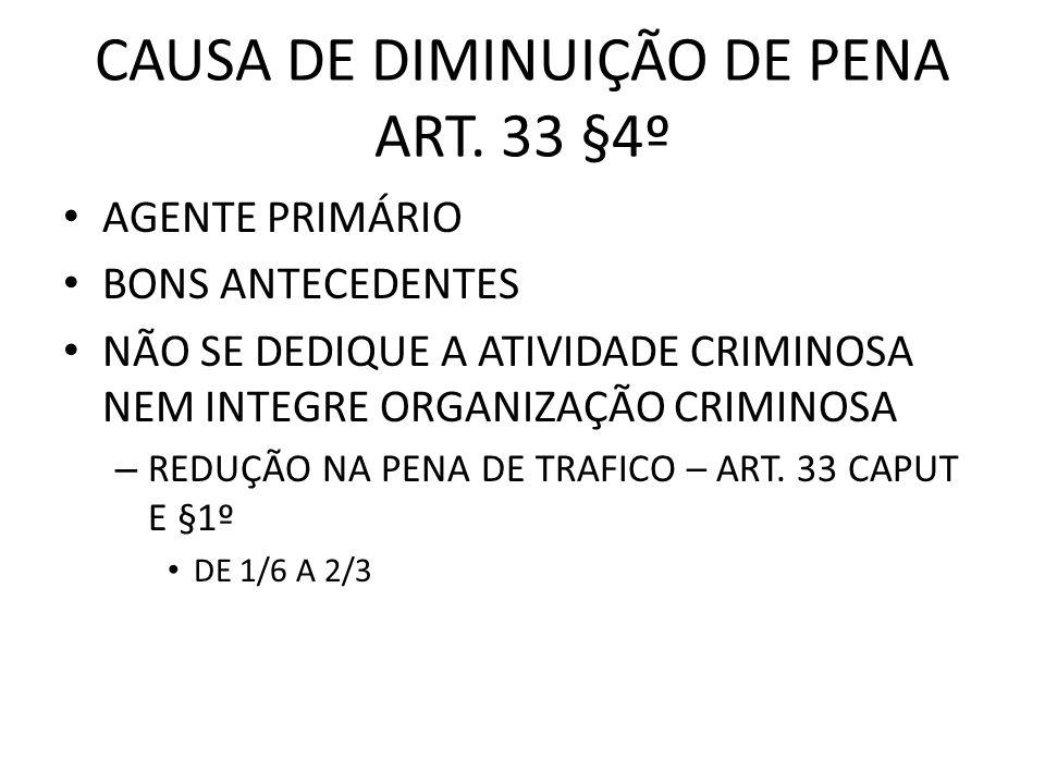 CAUSA DE DIMINUIÇÃO DE PENA ART. 33 §4º AGENTE PRIMÁRIO BONS ANTECEDENTES NÃO SE DEDIQUE A ATIVIDADE CRIMINOSA NEM INTEGRE ORGANIZAÇÃO CRIMINOSA – RED