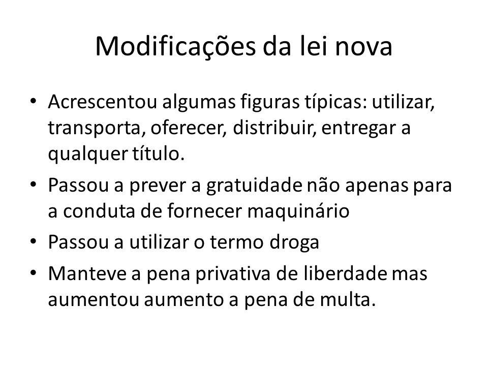 Modificações da lei nova Acrescentou algumas figuras típicas: utilizar, transporta, oferecer, distribuir, entregar a qualquer título. Passou a prever