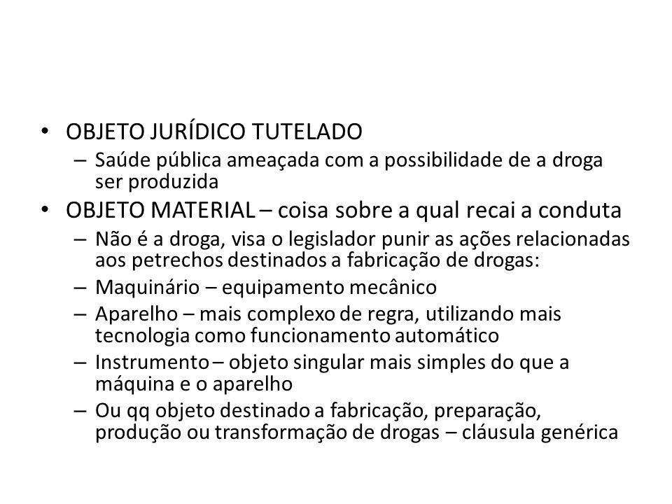 OBJETO JURÍDICO TUTELADO – Saúde pública ameaçada com a possibilidade de a droga ser produzida OBJETO MATERIAL – coisa sobre a qual recai a conduta –