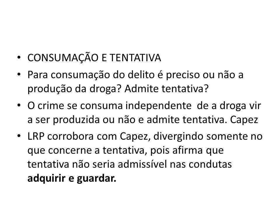 CONSUMAÇÃO E TENTATIVA Para consumação do delito é preciso ou não a produção da droga? Admite tentativa? O crime se consuma independente de a droga vi