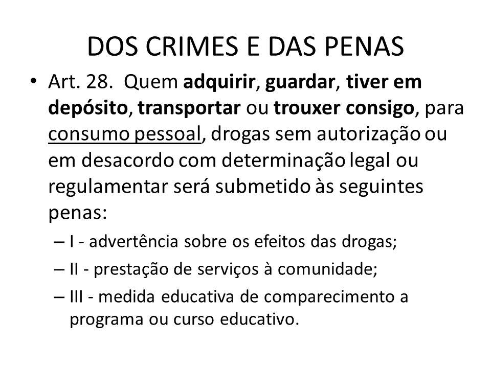 DOS CRIMES E DAS PENAS Art. 28. Quem adquirir, guardar, tiver em depósito, transportar ou trouxer consigo, para consumo pessoal, drogas sem autorizaçã