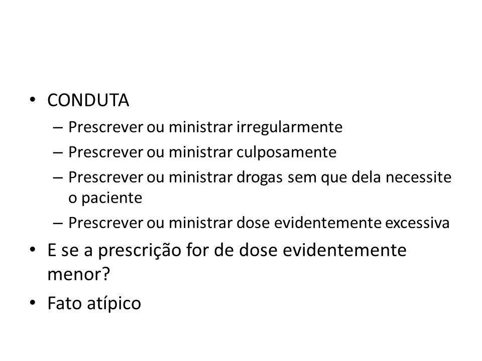CONDUTA – Prescrever ou ministrar irregularmente – Prescrever ou ministrar culposamente – Prescrever ou ministrar drogas sem que dela necessite o paci