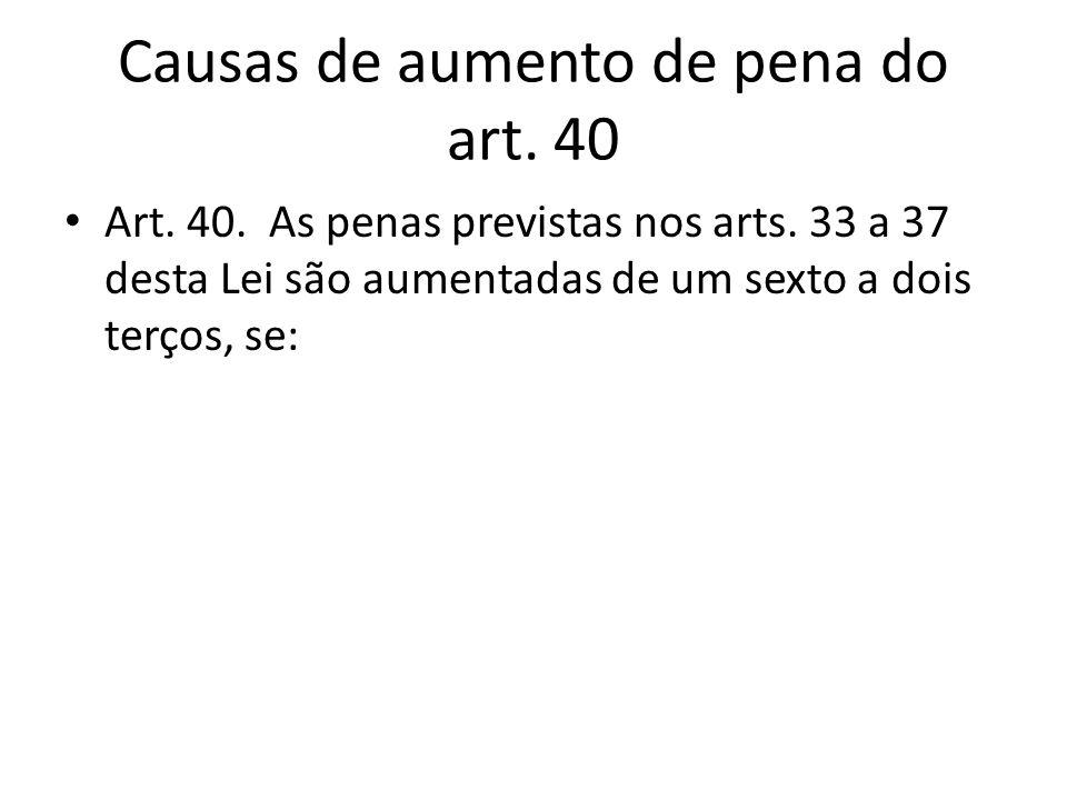 Causas de aumento de pena do art. 40 Art. 40. As penas previstas nos arts. 33 a 37 desta Lei são aumentadas de um sexto a dois terços, se: