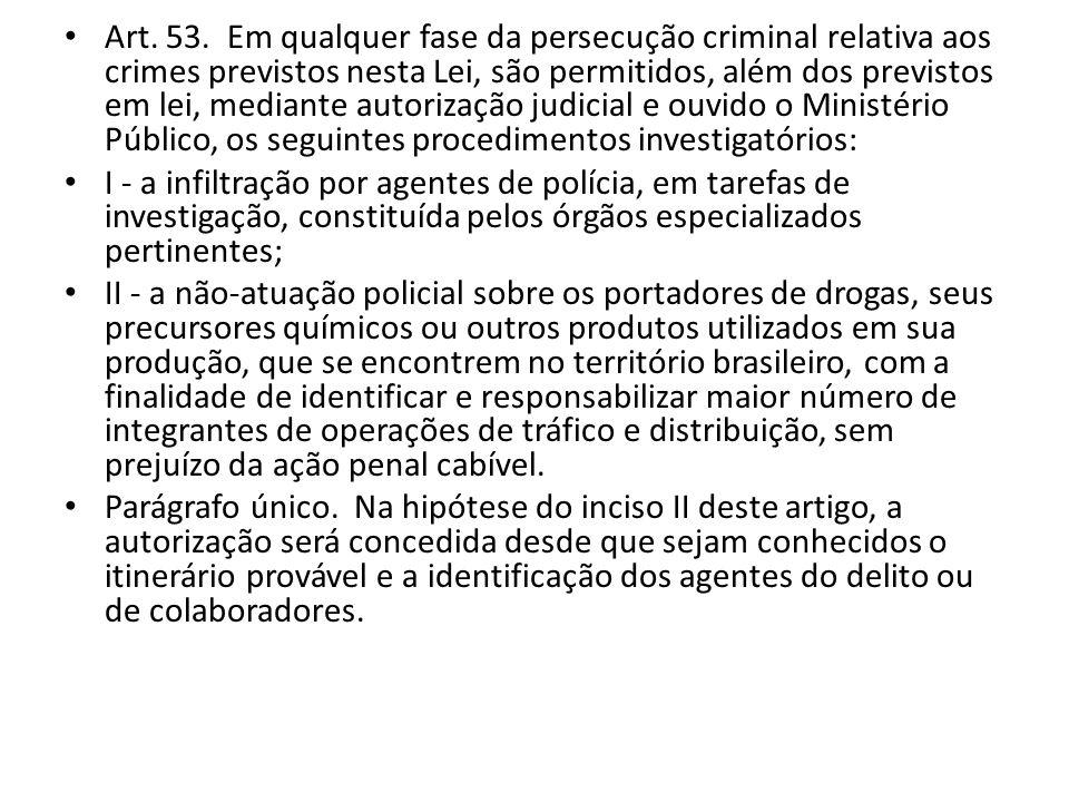 Art. 53. Em qualquer fase da persecução criminal relativa aos crimes previstos nesta Lei, são permitidos, além dos previstos em lei, mediante autoriza