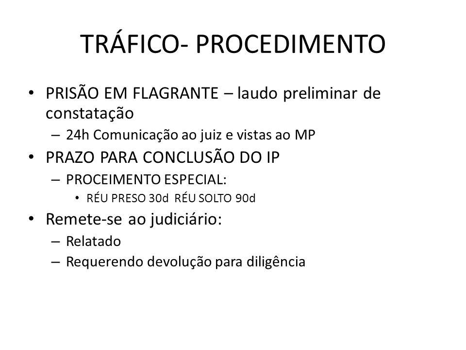 TRÁFICO- PROCEDIMENTO PRISÃO EM FLAGRANTE – laudo preliminar de constatação – 24h Comunicação ao juiz e vistas ao MP PRAZO PARA CONCLUSÃO DO IP – PROC