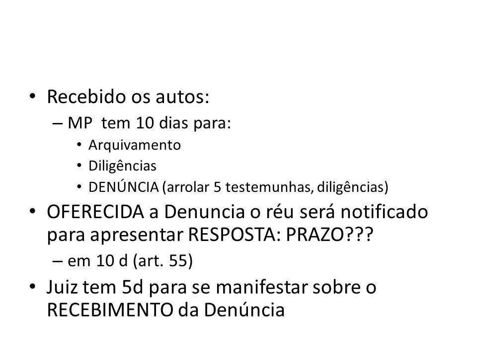 Recebido os autos: – MP tem 10 dias para: Arquivamento Diligências DENÚNCIA (arrolar 5 testemunhas, diligências) OFERECIDA a Denuncia o réu será notif