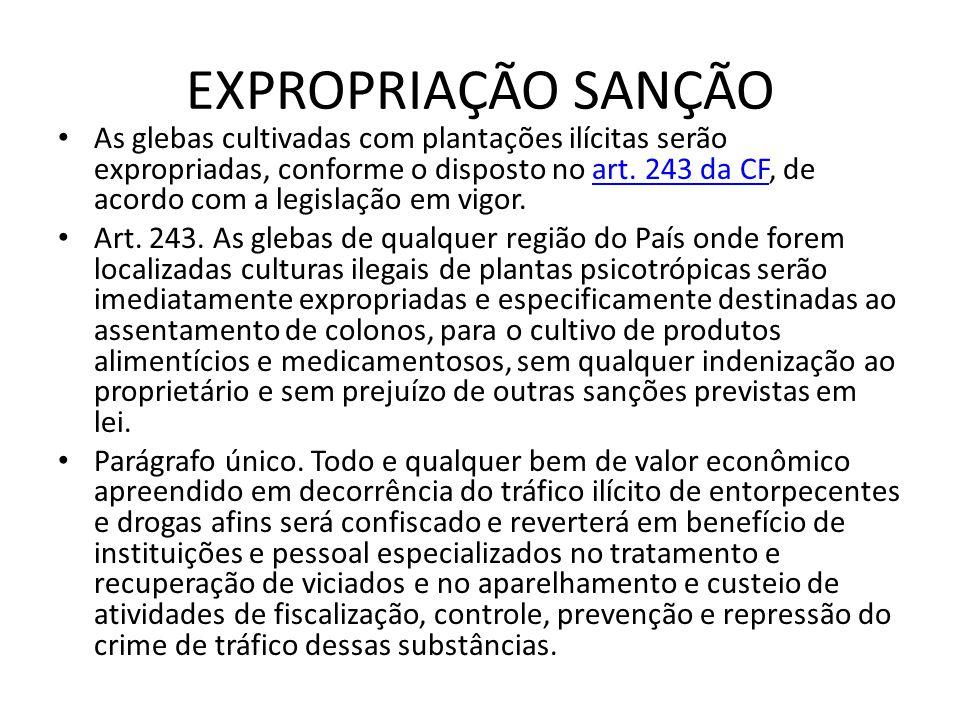 EXPROPRIAÇÃO SANÇÃO As glebas cultivadas com plantações ilícitas serão expropriadas, conforme o disposto no art. 243 da CF, de acordo com a legislação