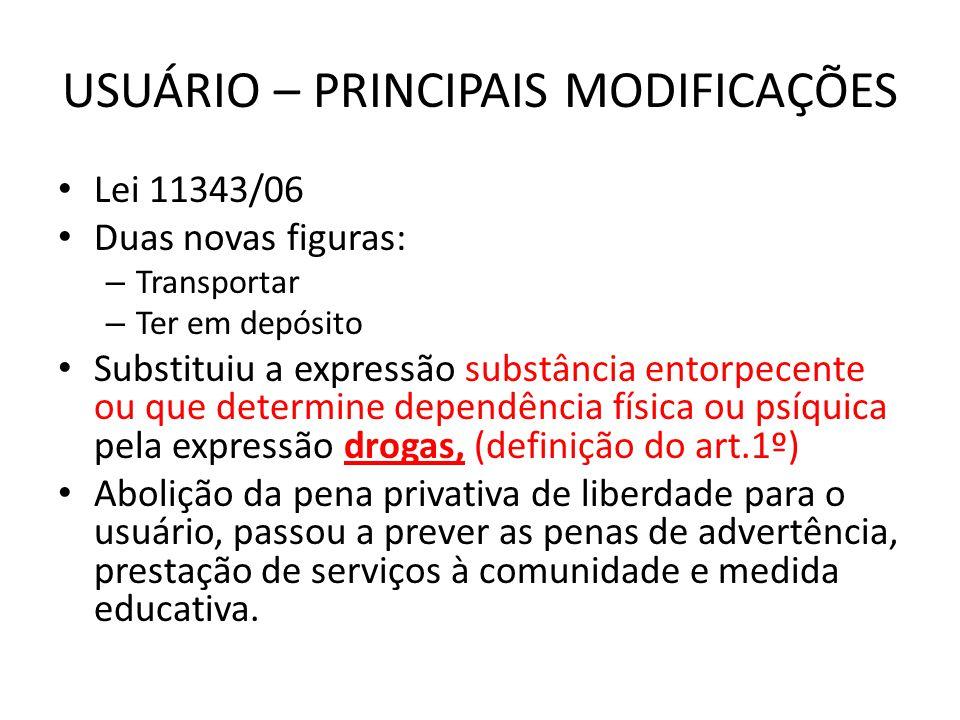 USUÁRIO – PRINCIPAIS MODIFICAÇÕES Lei 11343/06 Duas novas figuras: – Transportar – Ter em depósito Substituiu a expressão substância entorpecente ou q