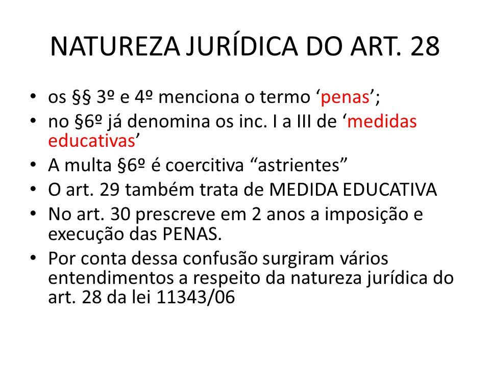 NATUREZA JURÍDICA DO ART. 28 os §§ 3º e 4º menciona o termo penas; no §6º já denomina os inc. I a III de medidas educativas A multa §6º é coercitiva a