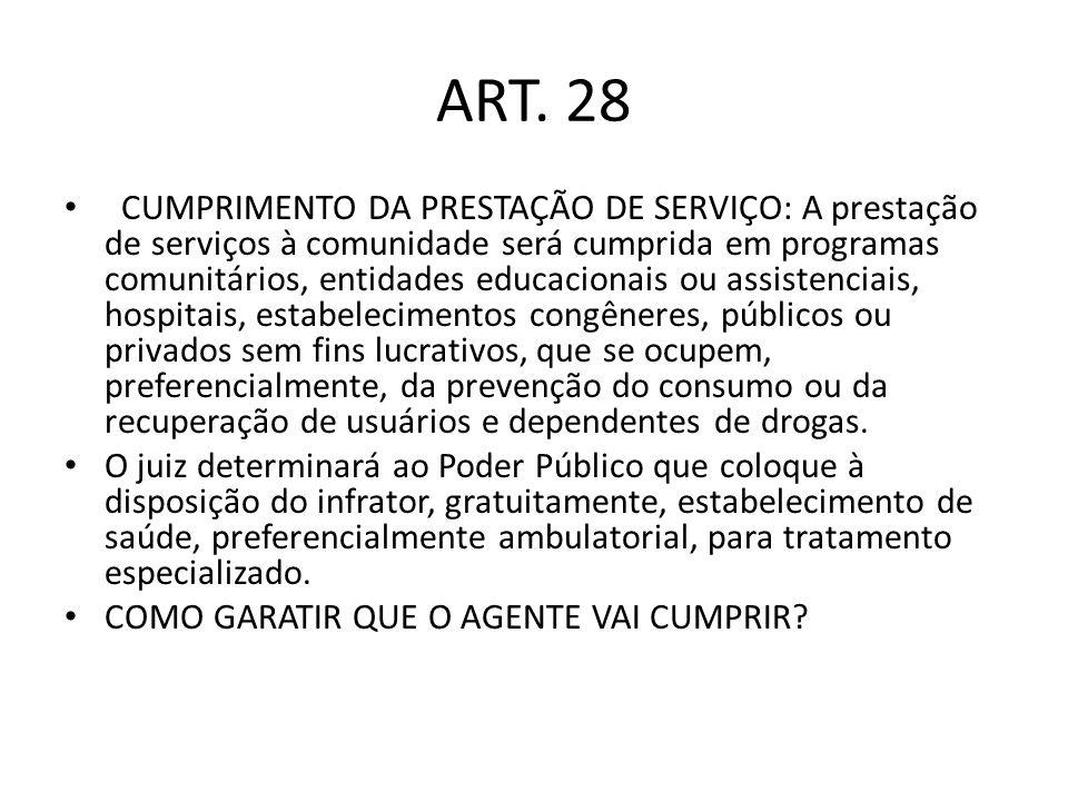 ART. 28 CUMPRIMENTO DA PRESTAÇÃO DE SERVIÇO: A prestação de serviços à comunidade será cumprida em programas comunitários, entidades educacionais ou a
