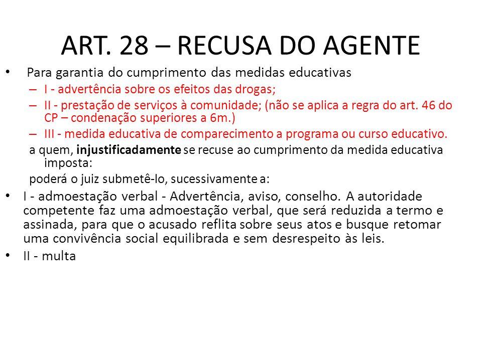 ART. 28 – RECUSA DO AGENTE Para garantia do cumprimento das medidas educativas – I - advertência sobre os efeitos das drogas; – II - prestação de serv