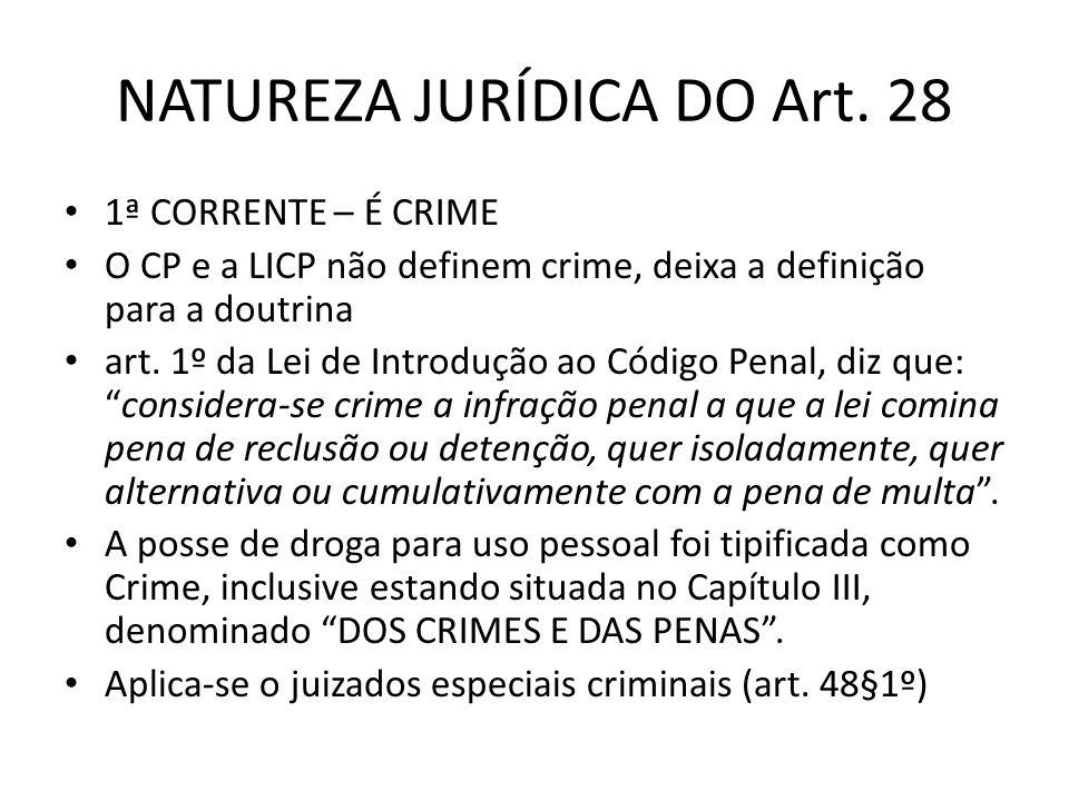 NATUREZA JURÍDICA DO Art. 28 1ª CORRENTE – É CRIME O CP e a LICP não definem crime, deixa a definição para a doutrina art. 1º da Lei de Introdução ao