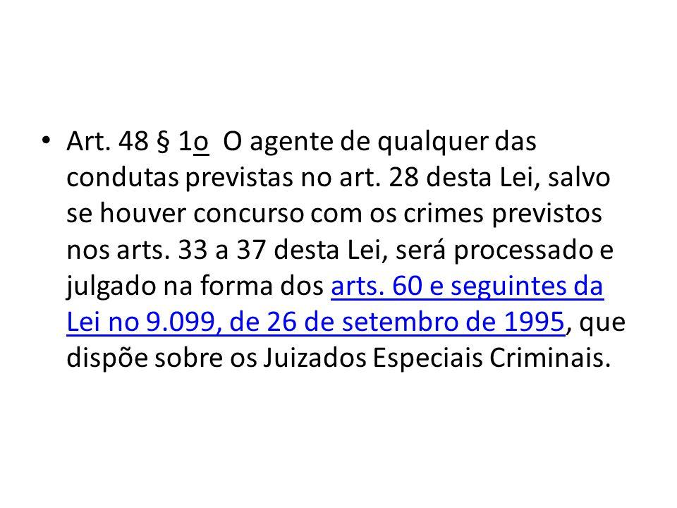 Art. 48 § 1o O agente de qualquer das condutas previstas no art. 28 desta Lei, salvo se houver concurso com os crimes previstos nos arts. 33 a 37 dest